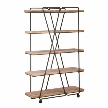 Dyqan librash për dysheme për stilin industrial në dru dhe hekur - Solinë