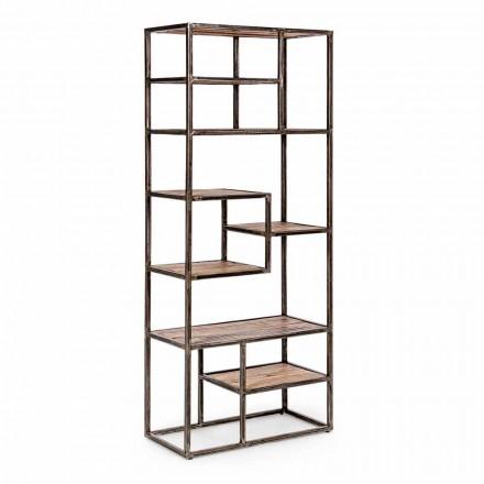 Rreth librash çeliku dhe druri i pikturuar në stilin industrial Homemotion - Zompo