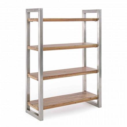 Rafte moderne librash me strukturë në çelik të kromuar dhe lëvizje prej druri - Lisotta