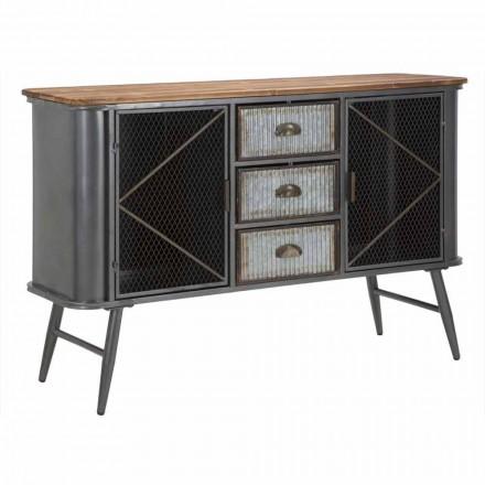 Dërrasa anësore e dhomës së ndenjes me dizajn industrial Vintage në hekur dhe dru - Akimi
