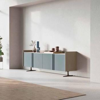 Dërrasë anësore ekologjike e drurit për hyrjen ose dhomën e ndenjes me 4 dyer dhe bazën metalike - Eliseo