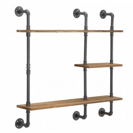 Dizajni Modern Rafte Muri me stil industrial në hekur dhe dru - Katrine