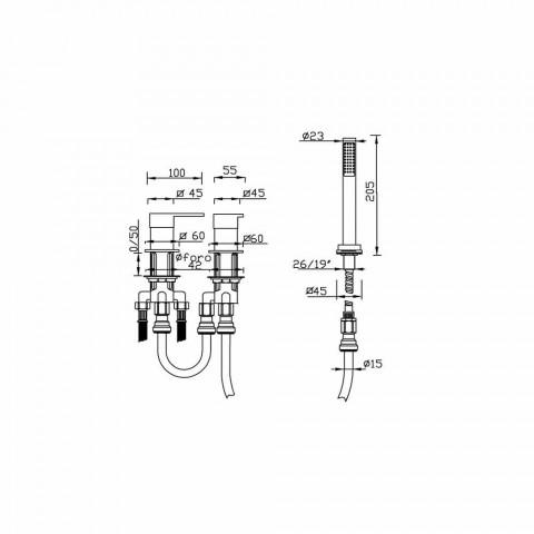 3-Vrima Bath Edge Mixer në tunxh prodhuar në Itali - Panela