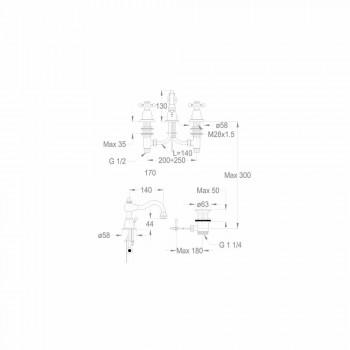 3-Vrima Basin Mixer 130 mm Lartë në tunxh Prodhuar në Itali - Binsu