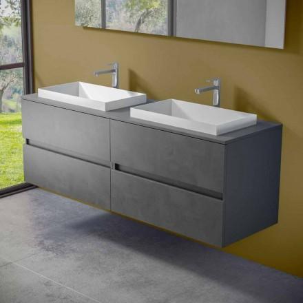 Mobilje për banjo të varur me lavaman të dyfishtë të ndërtuar, Dizajn modern - Dumbo
