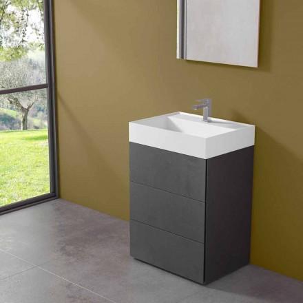 Kabineti i banjës me dysheme me dizajn modern në laminat me lavaman rrëshire - Pompei