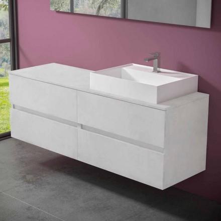 Dollap i banjës i pezulluar me lavaman të countertopit me rrëshirë dizajni - Alchimeo
