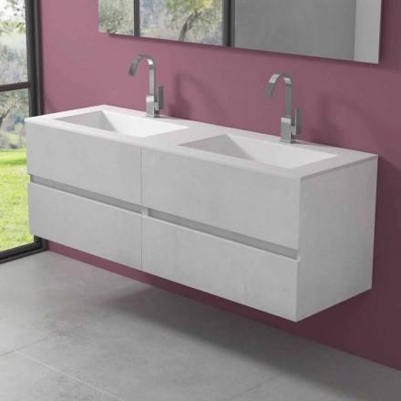 Dollap i varur i banjës me lavaman të dyfishtë, dizajn modern në 4 përfundime - dyshe