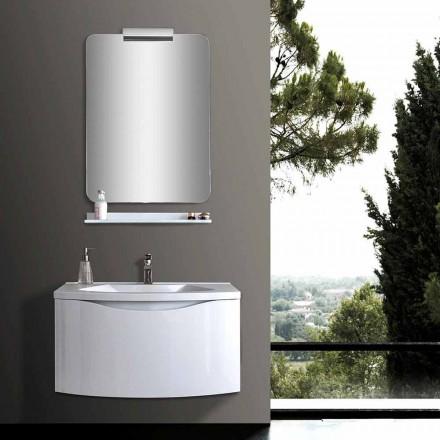 Kabineti i banjës së pezulluar modern i Bardhë me lavaman, raft, Pasqyrë LED - Michele