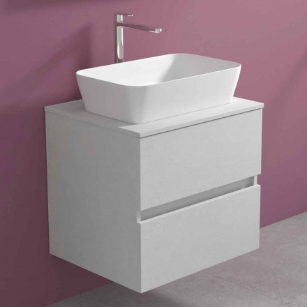 Dollap i banjës i pezulluar me lavaman countertop drejtkëndëshe, dizajn modern - Dumbo