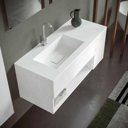 Dollap i ndërprerë i banjës me lavaman të integruar, dizajn modern, 4 përfundime - Pistillo