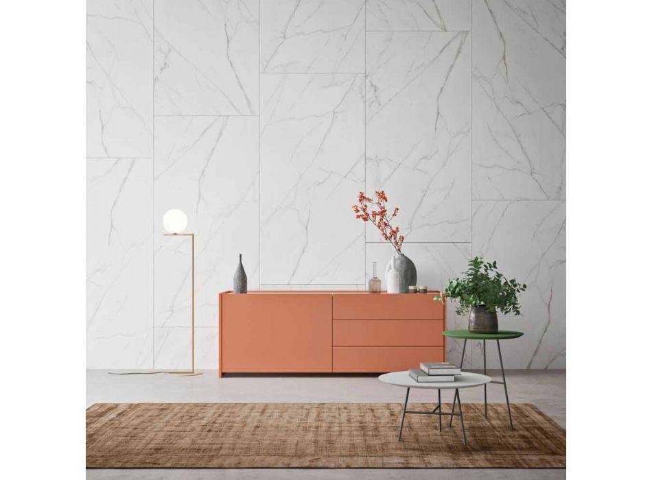 Dërrasë anësore lëvizëse 1 derë dhe 3 sirtarë në dhomën e ndenjes së dizajnit ekologjik të drurit - Lidia