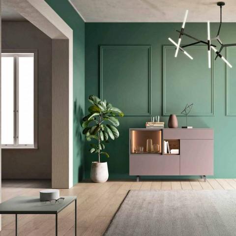 Dërrasa anësore e mobiljeve për hyrje ose dhomë të gjallë në projektin ekologjik të drurit dhe qelqit - Bruno