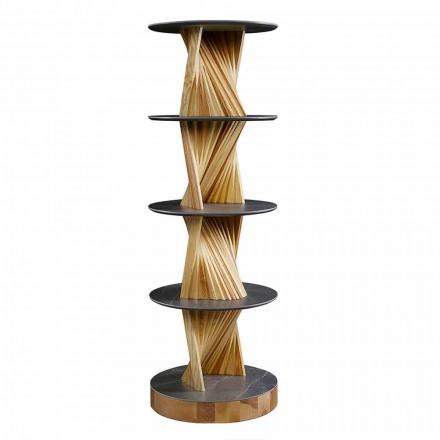 Dollap luksoz prej druri me rafte të rrumbullakët prej guri të prodhuara në Itali - Aspide