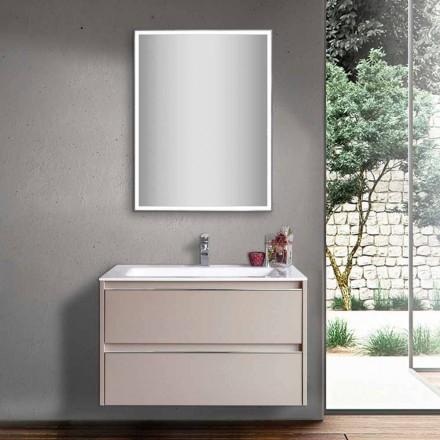 Lavanderi për banjë me një banjë gri në dru dhe minerale me pasqyrë LED - Alfonso