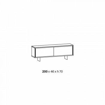 Bordi i dhomës së ndenjes në xham të tymosur dhe mermer të gjelbër ose të kuq me led - Leonarda