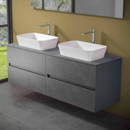 Dollap i ndërprerë i banjës me lavaman me countertop të dyfishtë - Mandrillo