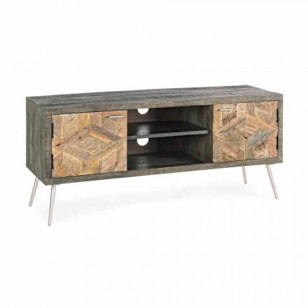 Stendë TV në dru me doreza dhe këmbë në çelik Homemotion - Adiva
