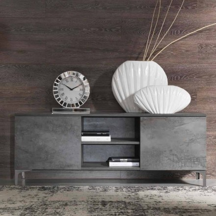 Kabineti modern TV Melamine Wood Dy Door Made in Italy - Clemente