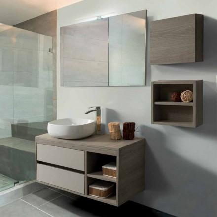Kabineti i banjës 100 cm, Pasqyra, Lavaman dhe rafti - Becky