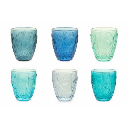 Syzet moderne me ngjyra blu 6 copë Shërbimi i Ujit - Mazara
