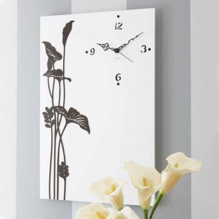 Ora moderne drejtkëndëshe e murit në dru të dekoruar me dekor të bardhë - Croco