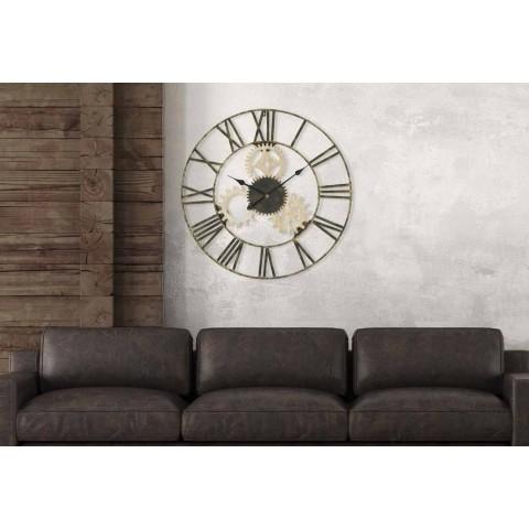 Diametri i rrumbullakët i murit të rrumbullakët 70 cm Dizajn modern në hekur dhe MDF - Jutta