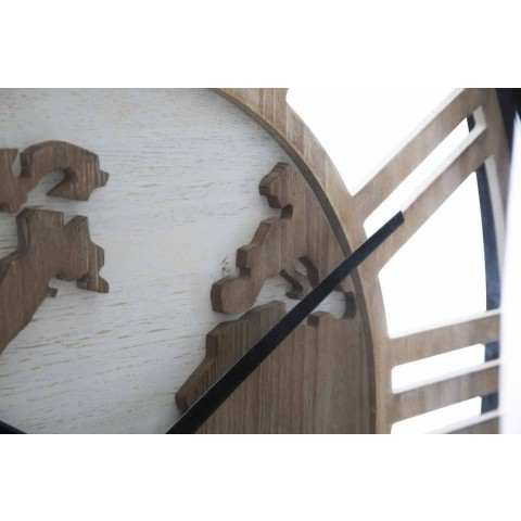 Diametri i rrumbullakët i murit të rrumbullakët 60 cm moderne në hekur dhe MDF - Arnela