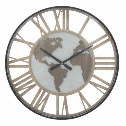 Diametri i orës së rrumbullakët të orës mur 60 cm Moderne në hekur dhe MDF - Arnela