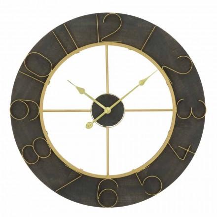 Diametri i orës së rrumbullakët të murit 70 cm Dizajn modern në hekur dhe MDF - Tonia