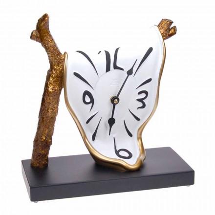 Ora e tryezës me dizajn modern, rrëshirë e pikturuar me dorë prodhuar në Itali - Cyan