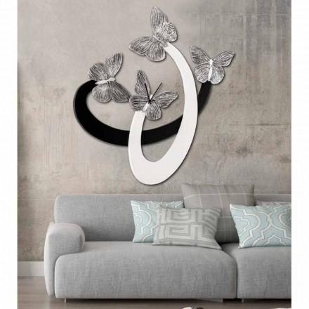 Orë muri me dizajn modern Zenia me flutura elegante, fildish / e zezë
