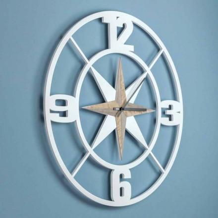 Dizajn i madh i orës së murit në dru të bardhë dhe kafe të varur - varet