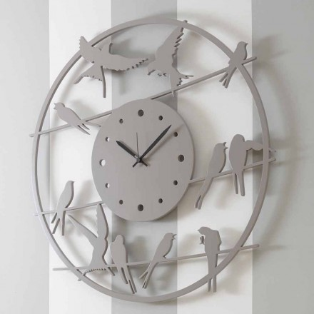 Ora e murit me dizajn të madh modern në dru të rrumbullakët me ngjyra - Zogj