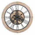Diametri i orës së rrumbullakët të orës mur 80 cm i modelit në hekur dhe MDF - Silva