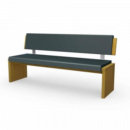 Stola moderne në dru lisi të veshur me susta në eko-lëkurë të zezë, Misty