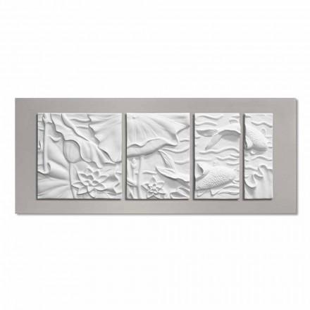 Paneli dekorativ i murit Dizajni modern qeramik i bardhë dhe gri - Giappoko