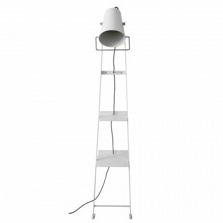 Llamba e dyshemesë së dhomës së ndenjes në metal të bardhë ose të zi me rafte - Butler