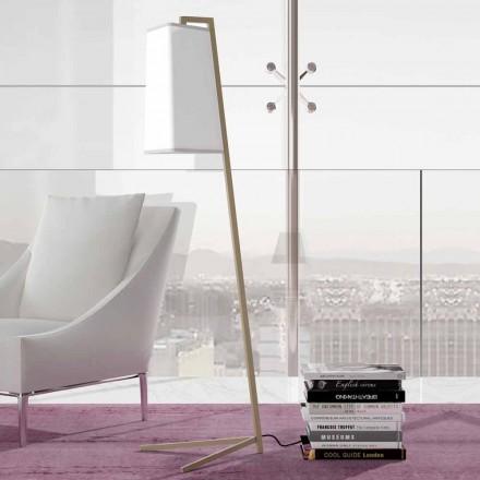 Llambë për dysheme metalike me abazhur pambuku moderne të bardhë prodhuar në Itali - Barton