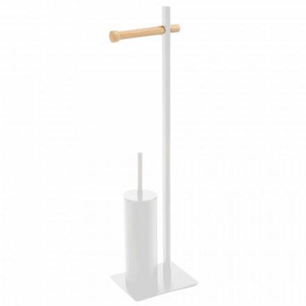 Furça e tualetit dhe mbajtësi i letrës higjienike në metal dhe dru Zelbio