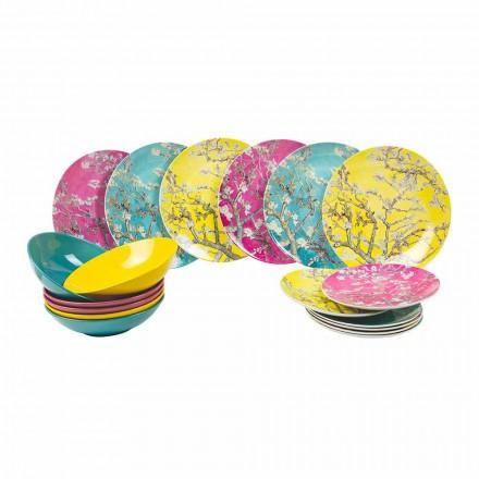 Pllaka prej porcelani me ngjyra dhe pllaka prej guri Shërbimi modern i tabelës 18 copë - Nagoya