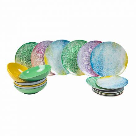 Enët e ngjyrosura në tavolinë shërbyese prej 18 copash prej porcelani - Ipanema