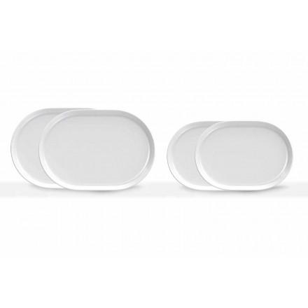 Dizajn Modern Pllaka Shërbimi Ovale të Bardha në Porcelan 4 copë - Arktik