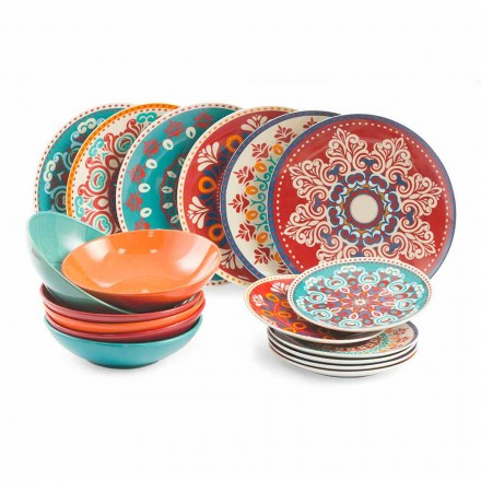 Enët etnike 18 copë porcelani me ngjyra dhe shërbimi i tryezave me gurë - Persia