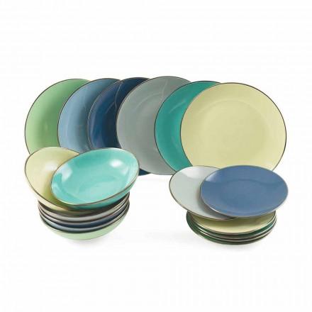 Pllaka në gur me ngjyra moderne 18 copë Shërbimi i plotë i tabelës - Regal