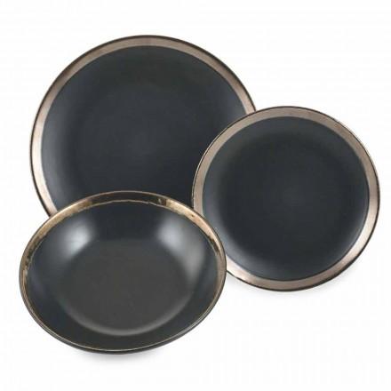 Pllaka takëmi për pjata prej guri të zi dhe të artë Set 18 copë moderne - Oronero