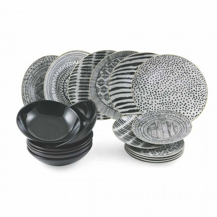 Pllaka prej porcelani dhe gresi të zi Shërbimi i plotë i tryezës 18 copë - Tribu