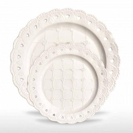 Pjata e preferuar 12 copë në dorë prej porcelani të bardhë të dekoruar - Rafiki