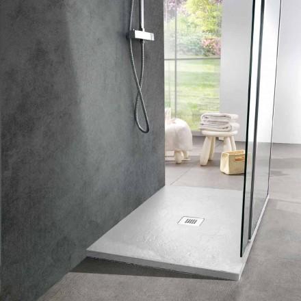 Tabaka dushi 120x90 Dizajn modern në efektin e pllakës së rrëshirës së bardhë - Sommo