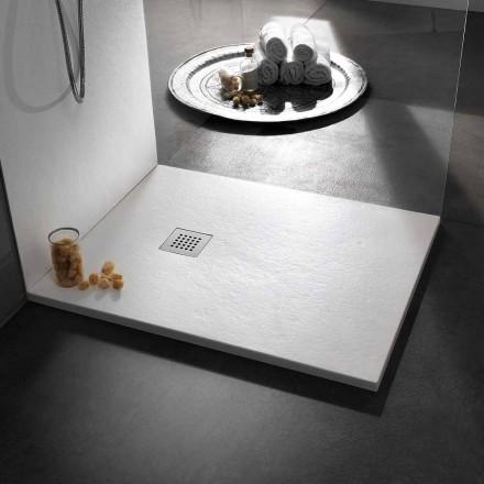 Tabaka dushi 120x90 në rrëshirë me efekt guri me rrjet çeliku - Domio
